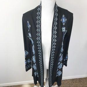 Roper Open Black Knit Blue Embroidery Long Cardi M